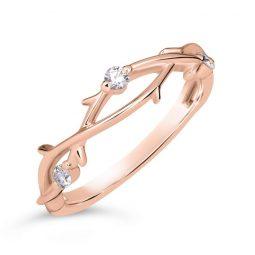 Zásnubní prsten z růžového zlata s diamanty, Danfil DF 4441