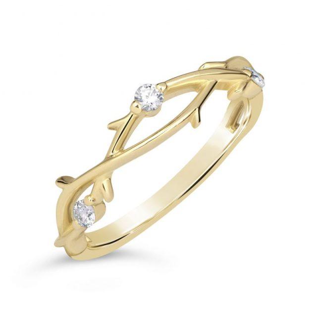 Zásnubní prsten ze žlutého zlata s diamanty, Danfil DF 4441