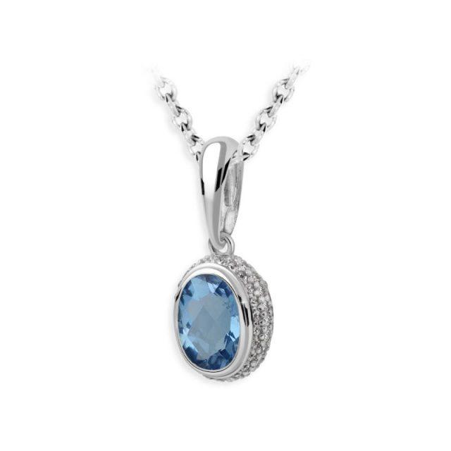 Dámský přívěsek z bílého zlata s modrým topazem a diamanty, DF 3372