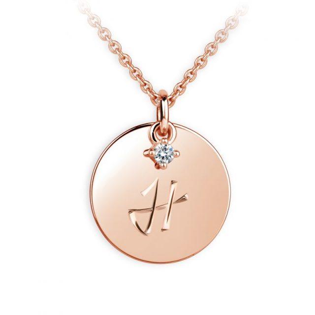 Přívěsek z růžového zlata s briliantem, placička DF P120 písmeno H