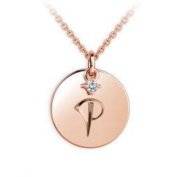 Přívěsek z růžového zlata s briliantem, placička DF P120 písmeno P