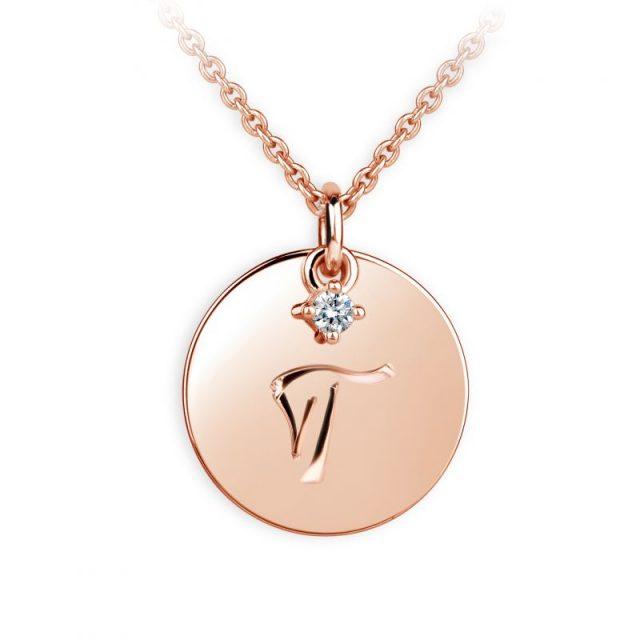 Přívěsek z růžového zlata s briliantem, placička DF P120 písmeno T