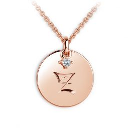 Přívěsek z růžového zlata s briliantem, placička DF P120 písmeno Z