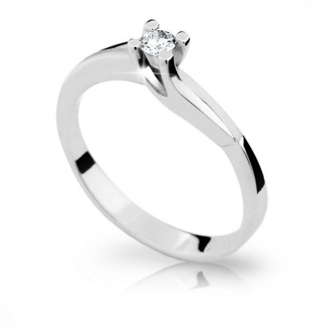 Zlatý zásnubní prsten z bílého zlata s briliantem, Danfil DF 1854