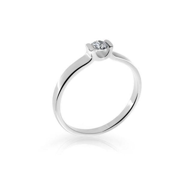 Zásnubní prsten z bílého zlata s diamanty, Danfil DF 2613B