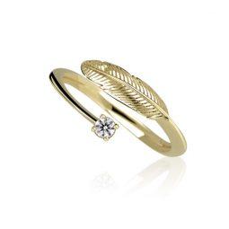 Zásnubní prsten ze žlutého zlata s diamanty, Danfil DF 3836Z