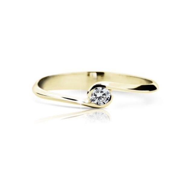 Zásnubní prsten ze žlutého zlata s briliantem, Danfil DF 1914