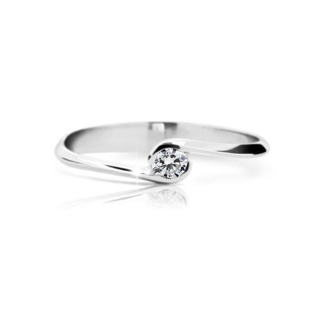 Zásnubní prsten z bílého zlata s briliantem, Danfil DF 1914