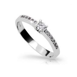 Zásnubní prsten z bílého zlata s briliantem, Danfil DF 1917
