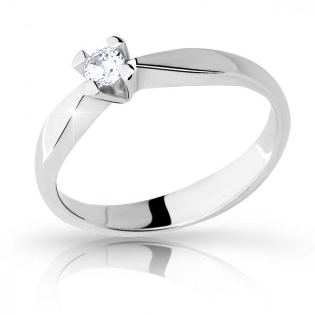 Zásnubní prsten z bílého zlata s briliantem, Danfil DF 2100