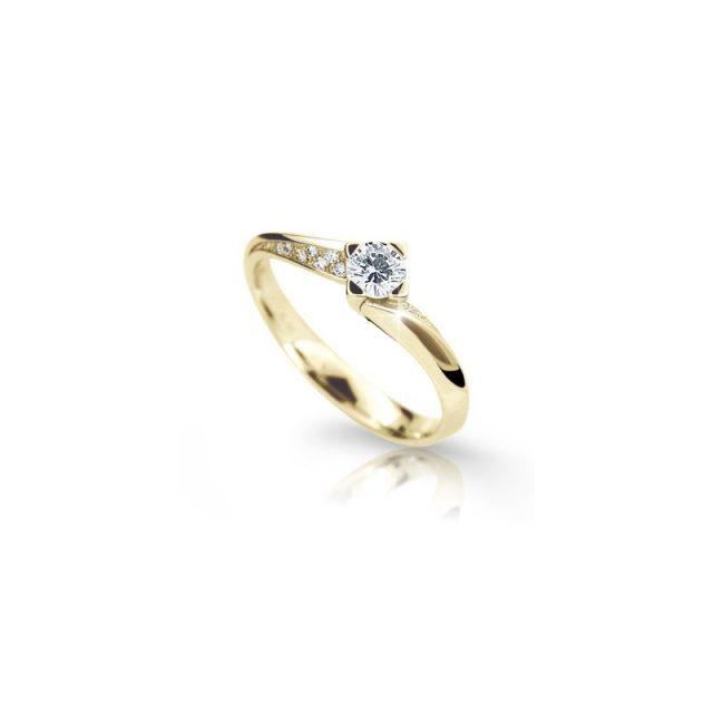 Zásnubní prsten ze žlutého zlata, s briliantem, Danfil DF 2101