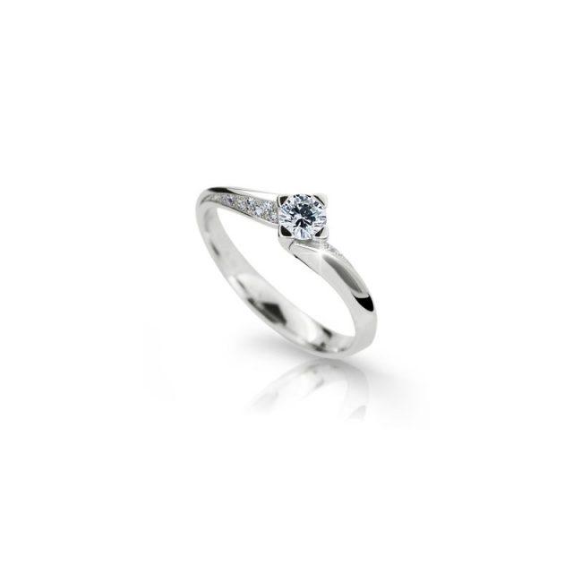 Zásnubní prsten z bílého zlata s briliantem, Danfil DF 2101
