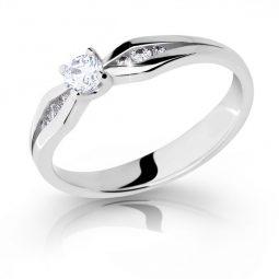 Zásnubní prsten z bílého zlata s briliantem, Danfil DF 2122