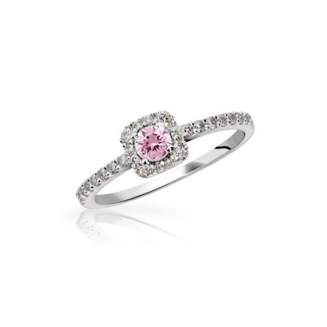 Zásnubní prsten z bílého zlata s růžovým safírem a diamanty, Danfil DF 2800