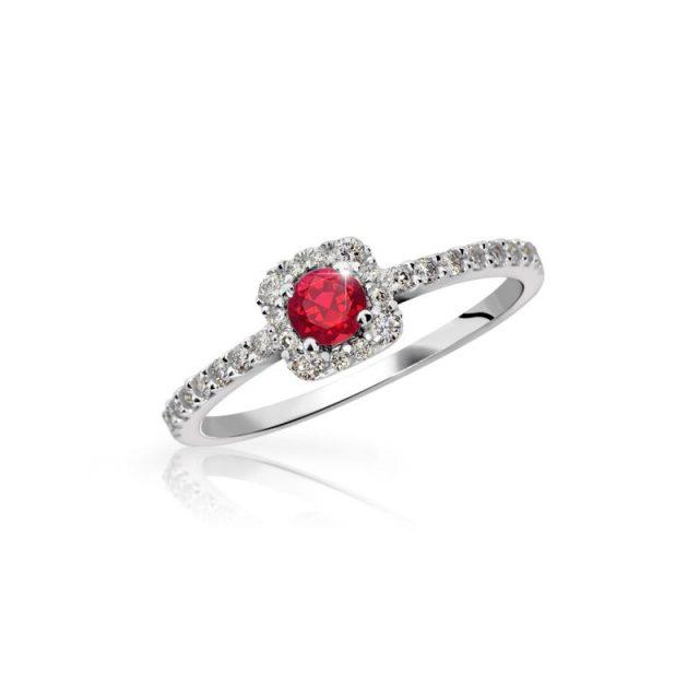 Zlatý zásnubní prsten z bílého zlata, s rubínem, Danfil DF 2800
