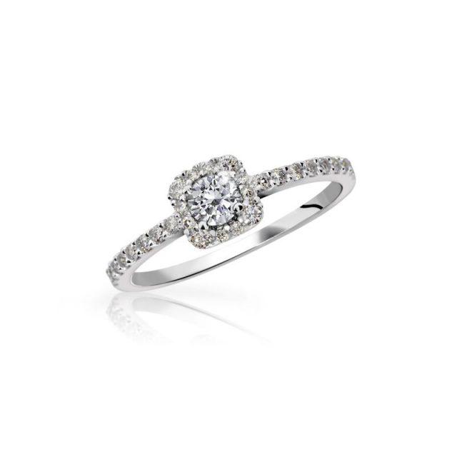 Zlatý zásnubní prsten z bílého zlata s briliantem, Danfil DF 2800