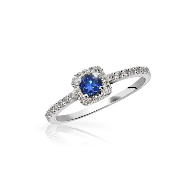Zásnubní prsten z bílého zlata se safírem a diamanty, Danfil DF 2800
