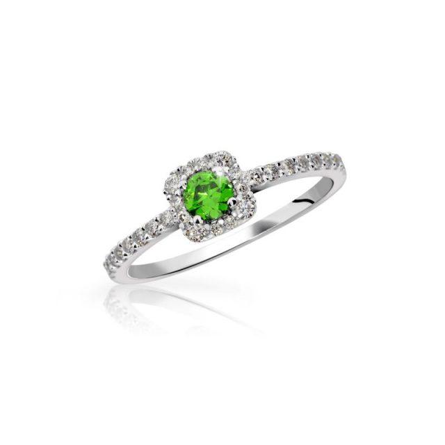 Zlatý zásnubní prsten z bílého zlata se smaragdem a diamanty, Danfil DF 2800