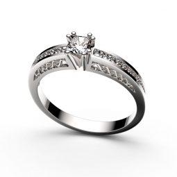 Zásnubní prsten z bílého zlata, s briliantem, Danfil DF 2891