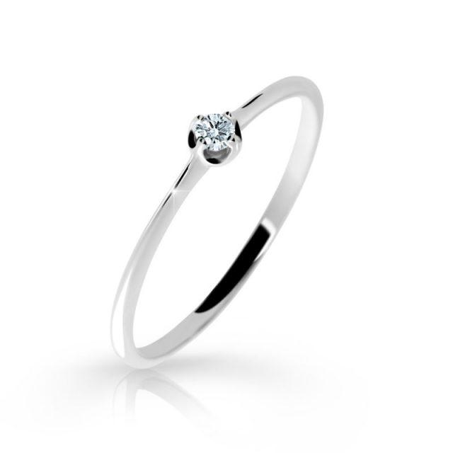 Zásnubní prsten z bílého zlata s briliantem, Danfil DF 2931