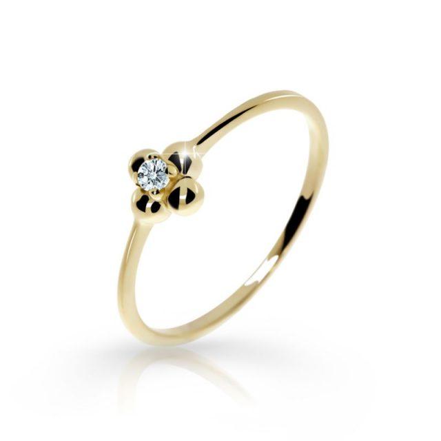 Zlatý zásnubní prsten ze žlutého zlata s briliantem, DF 2932