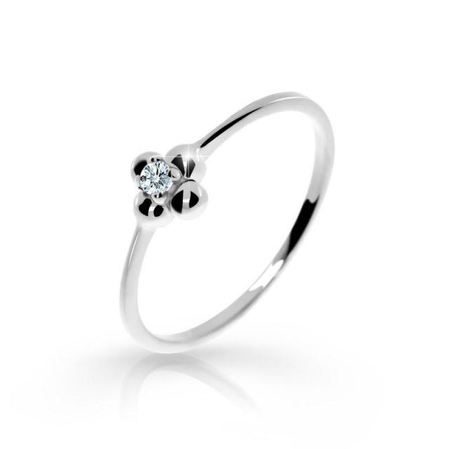 Zásnubní prsten z bílého zlata s briliantem, Danfil DF 2932