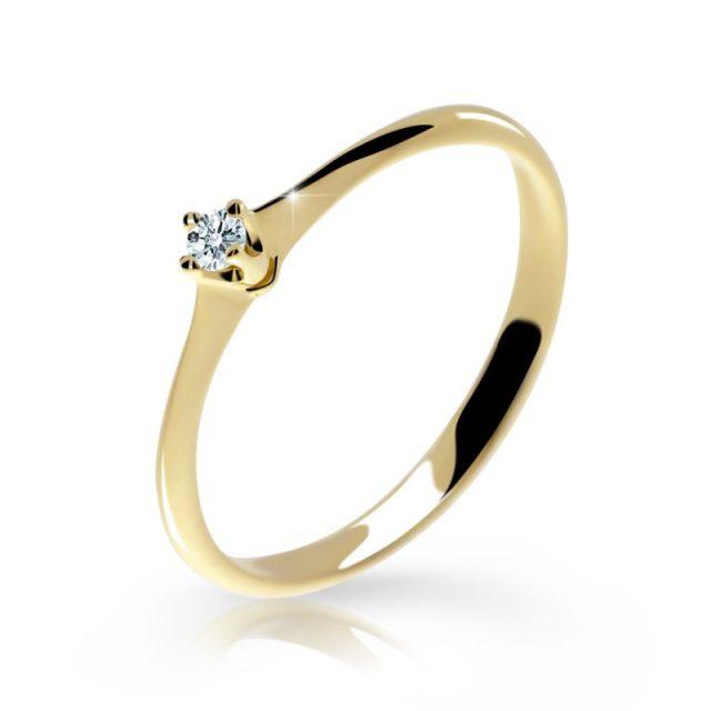 Zásnubní prsten ze žlutého zlata s briliantem, Danfil prsten DF 2940Z