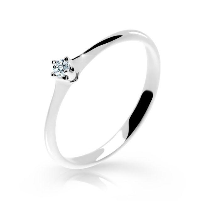 Zásnubní prsten z bílého zlata s briliantem Danfil DF 2940B