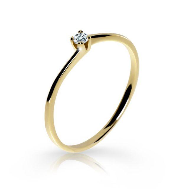 Zásnubní prsten ze žlutého zlata s briliantem, DF 2943