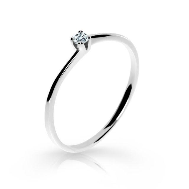 Zásnubní prsten z bílého zlata s briliantem, Danfil DF 2943