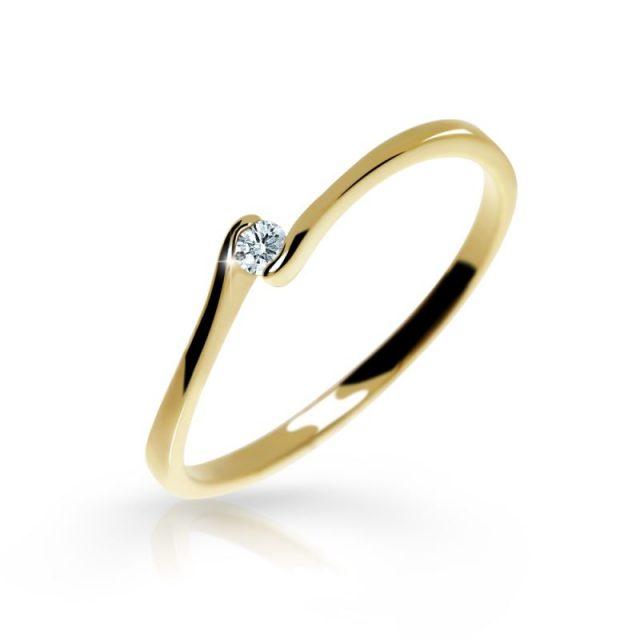 Zásnubní prsten ze žlutého zlata s briliantem, Danfil DF 2947