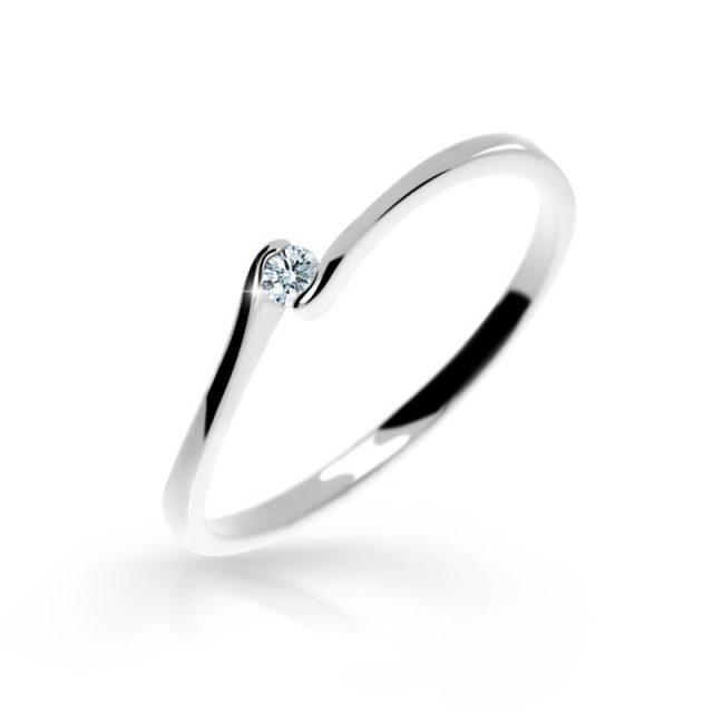 Zásnubní prsten z bílého zlata s briliantem, Danfil DF 2947
