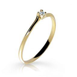 Zásnubní prsten ze žlutého zlata s briliantem, DF 2948