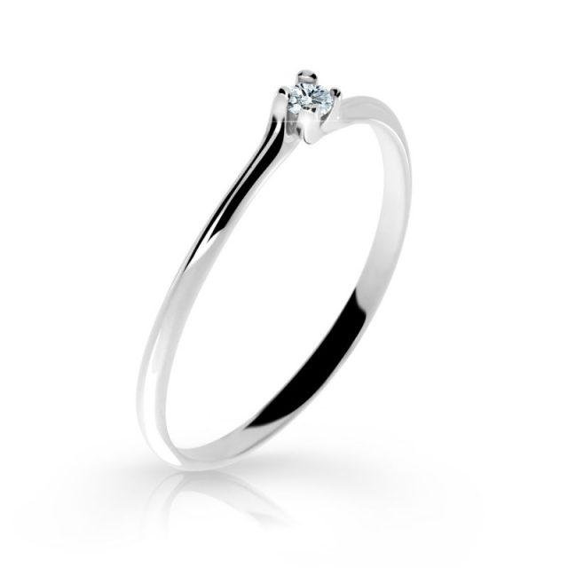 Zásnubní prsten z bílého zlata s briliantem, Danfil DF 2948