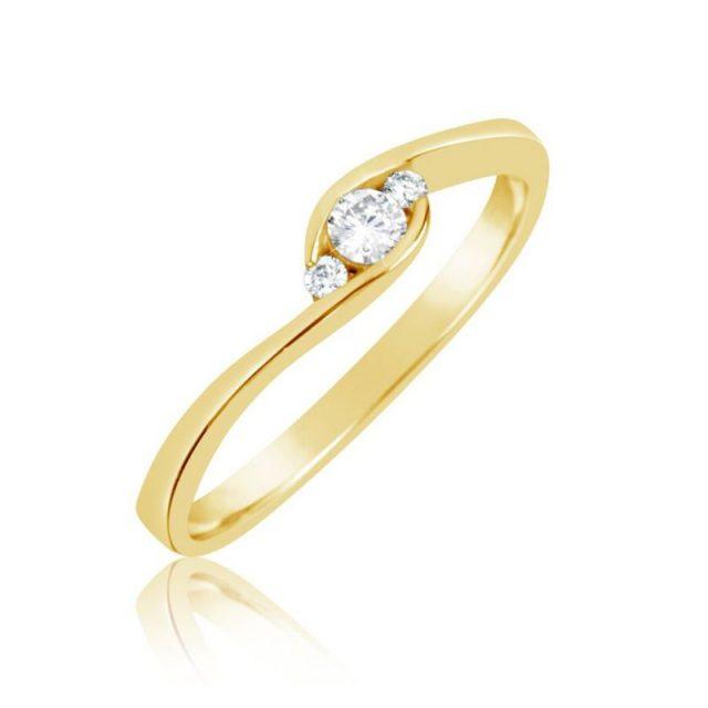 Zásnubní prsten ze žlutého zlata s diamanty, Danfil DF 2954Z