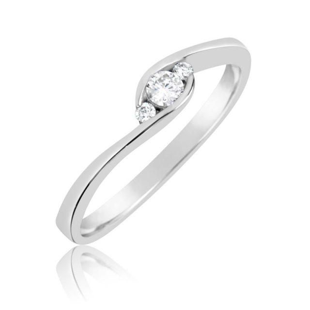 Zásnubní prsten z bílého zlata s diamanty, Danfil DF 2954B