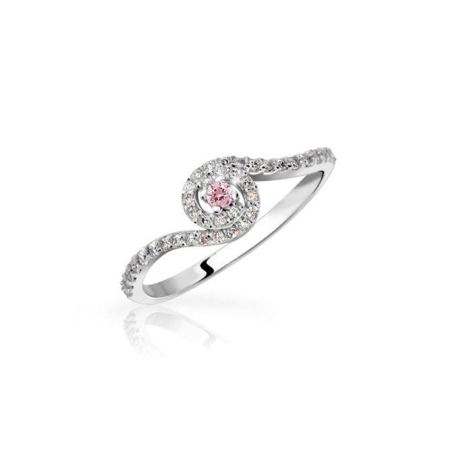 Zásnubní prsten z bílého zlata s růžovým safírem a diamanty, Danfil DF 3052