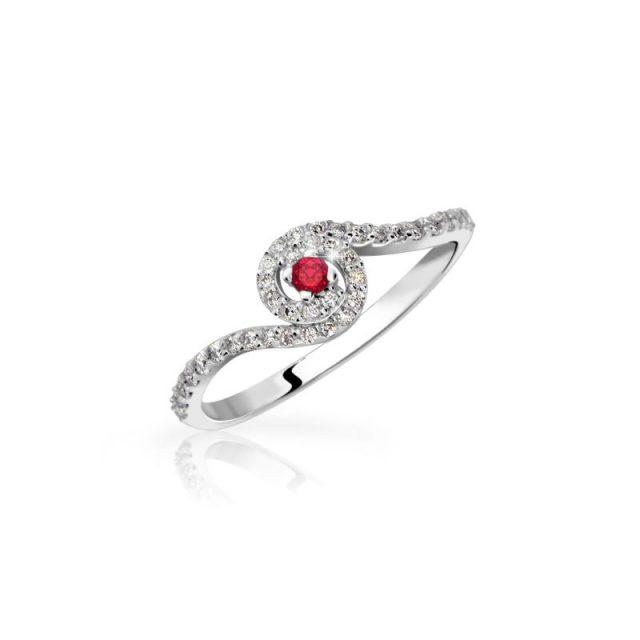 Zásnubní prsten z bílého zlata s rubínem a diamanty, Danfil DF 3052