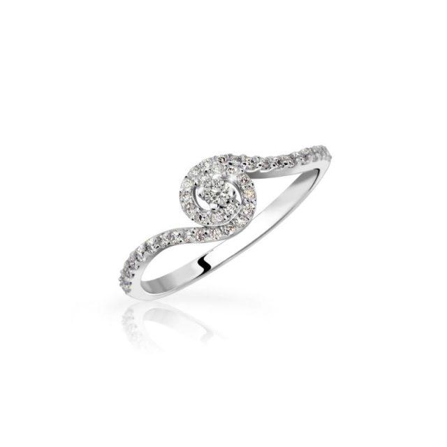 Zásnubní prsten z bílého zlata s briliantem, Danfil DF 3052