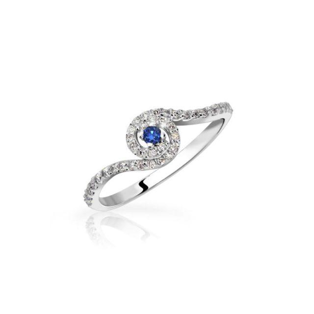 Zásnubní prsten z bílého zlata se safírem a diamanty, Danfil DF 3052