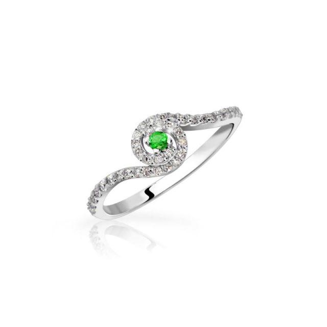 Zásnubní prsten z bílého zlata se smaragdem a diamanty, Danfil DF 3052