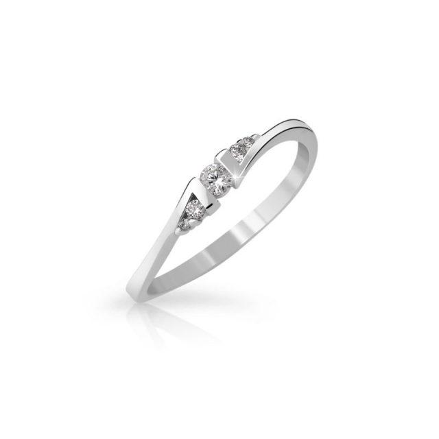 Zásnubní prsten z bílého zlata s diamanty, Danfil DF 3054B