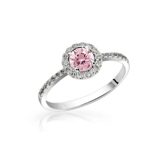 Zásnubní prsten z bílého zlata, s růžovým safírem a diamanty, Danfil DF 3098