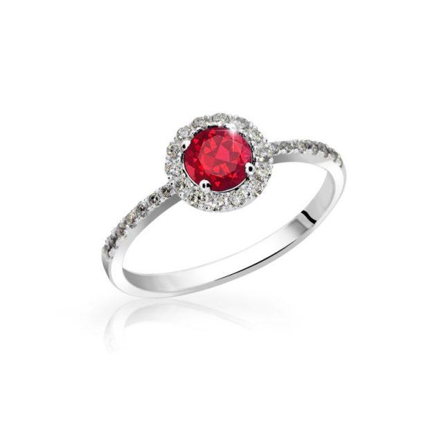Zásnubní prsten z bílého zlata s rubínem a diamanty, Danfil DF 3098