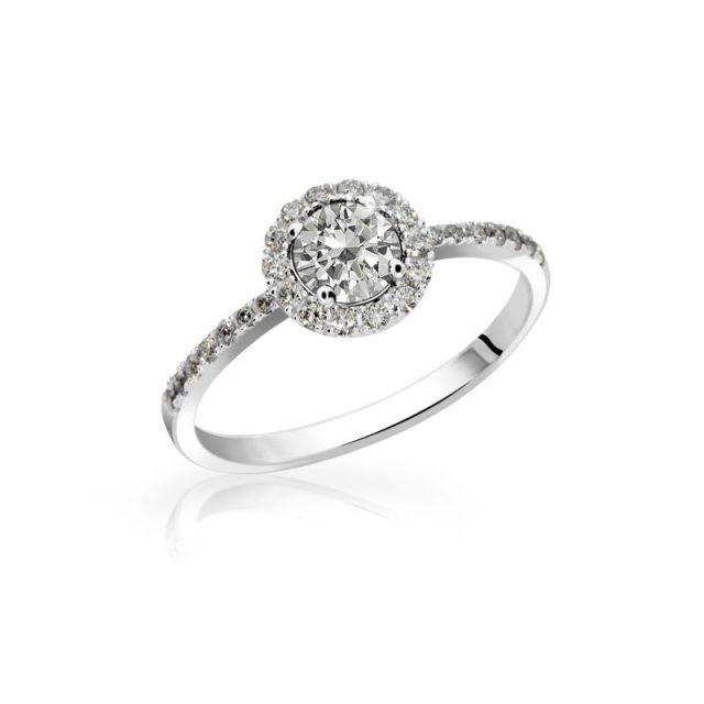Zásnubní prsten z bílého zlata s diamantem, Danfil DF 3098