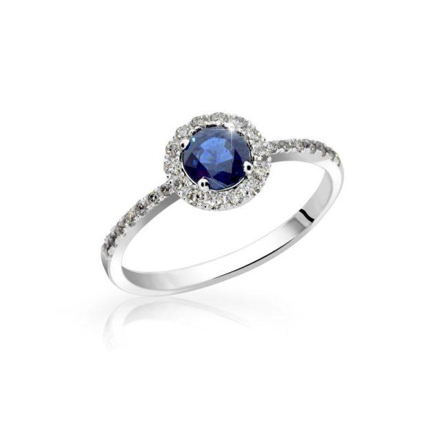 Zásnubní prsten z bílého zlata se safírem a diamanty, Danfil DF 3098