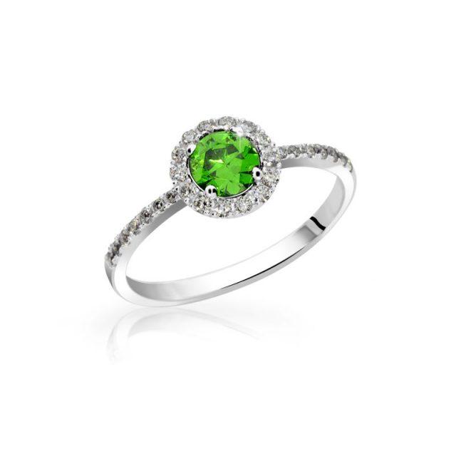 Zásnubní prsten z bílého zlata se smaragdy, Danfil DF 3098