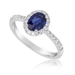 Zásnubní prsten z bílého zlata se safírem a diamanty, Danfil DF 3101B