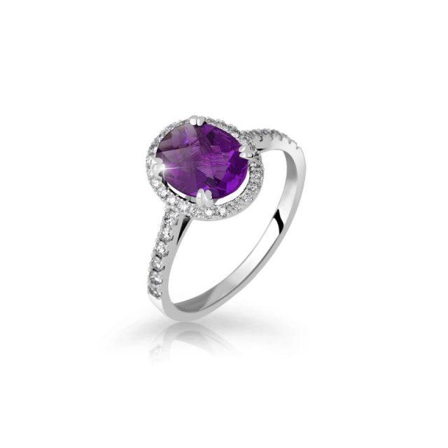 Zásnubní prsten z bílého zlata s ametystem a diamanty, Danfil DF 3365