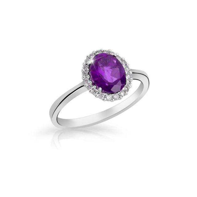 Zásnubní prsten z bílého zlata s ametystem a diamanty, Danfil DF 3520